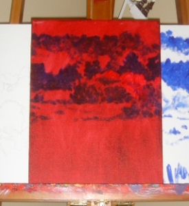 Red canvas with darks painted in