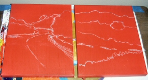 Red canvases with chalk sketches