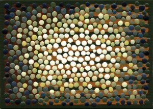 """Dots 5"" by Barbara J Carter, 5x7"", acrylic on canvas panel, 2009"