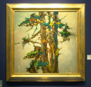 "S. C. Yuan, ""Monterey Pine,"" oil on canvas, 40x40 inches"