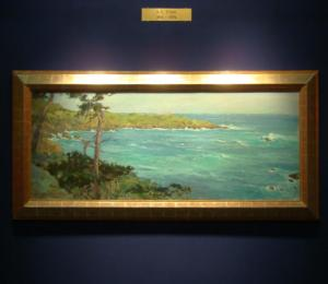 "S. C. Yuan, ""Carmel Highlands,"" oil on masonite, 26.5 x 64 inches"