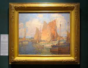 "Edgar Payne, ""Harbor of Camaret,"" oil on canvas, 22x26 inches."